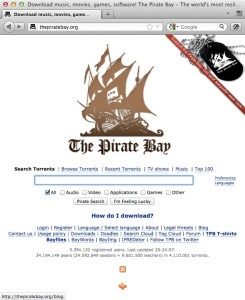 Screenshot: The Pirate Bay (Website, 2011)