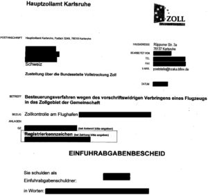 Dokument: Einfuhrabgabenbescheid des Hauptzollamtes Karlsruhe (Auszug)