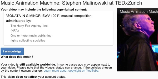 Screenshot: YouTube Copyright Infringement Notice für «Music Animation Machine» von Stephen Malinowski