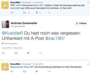 Screenshot: Twitter-Aufruf zum Retournieren der SVP-Abstimmungszeitung «Extrablatt»