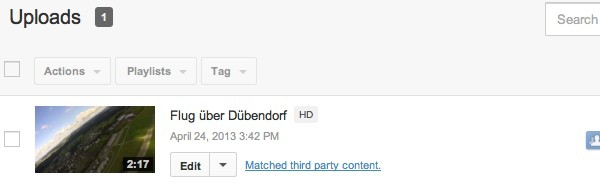 Screenshot: Urheberrechtshinweis bei YouTube