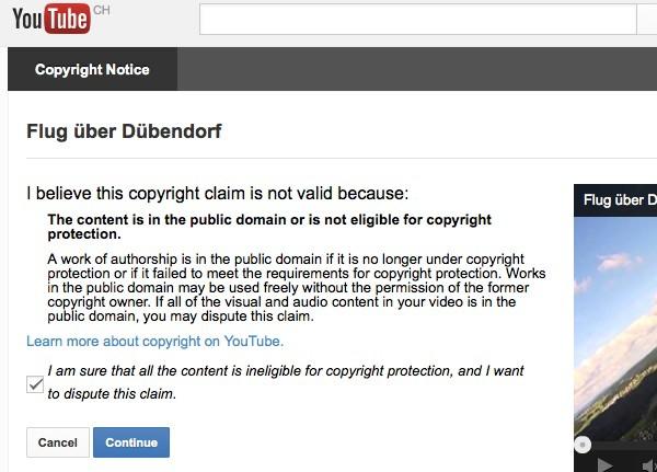 Screenshot: Einspruch gegen Urheberrechtshinweis bei YouTube