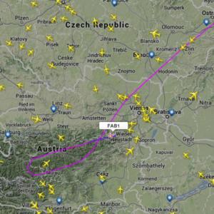 Screenshot: Flugweg der FAB001 über Österreich bei Flightradar24.com