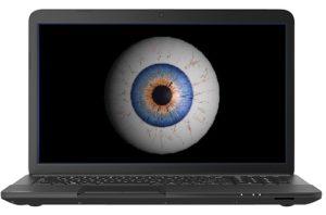 Bild: Notebook mit überwachendem Auge auf Bildschirm