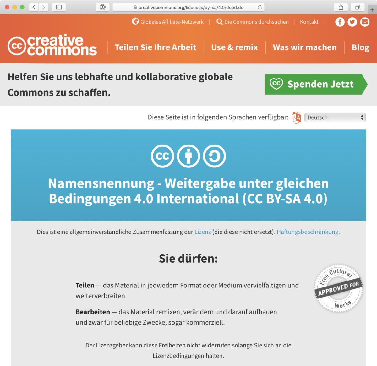 Screenshot: CC BY-SA 4.0 (international)-Lizenz auf Deutsch