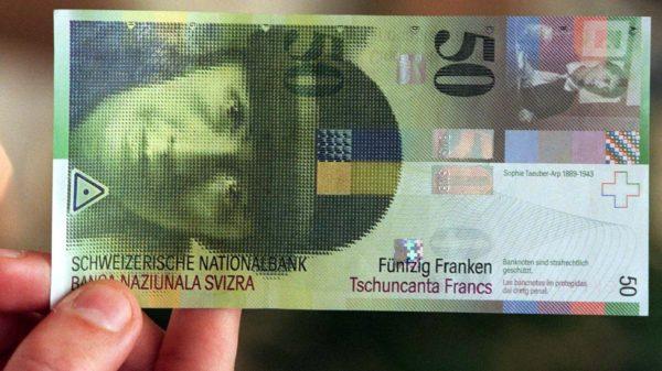 Foto: 50-Franken-Note mit Porträt von Sophie Taeuber-Arp