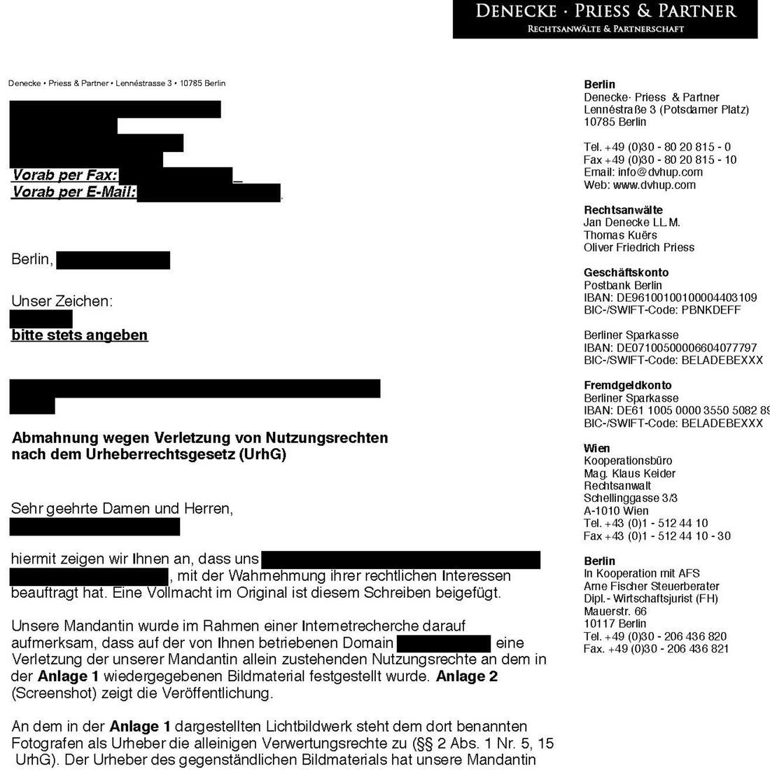 dokument urheberrechtliche abmahnung aus deutschland von denecke priess partner - Modifizierte Unterlassungserklarung Muster