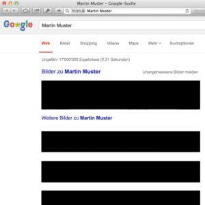Screenshot: Google-Suchergebnisse mit Zensurbalken