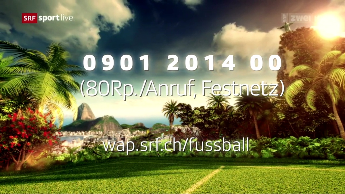Screenshot: Fernseh-Gewinnspiel anlässlich der Fussball-Weltmeisterschaft 2014 im Schweizer Radio und Fernsehen (SRF)
