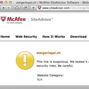 Screenshot: McAfee SiteAdvisor bezüglich steigerlegal.ch