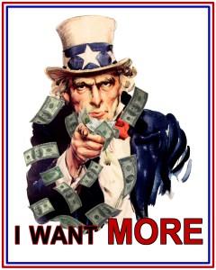 Bild: Uncle Sam-Bild mit der Forderung «I WANT MORE»