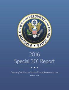 Titelseite: Amerikanischer «Special 301 Report» 2016
