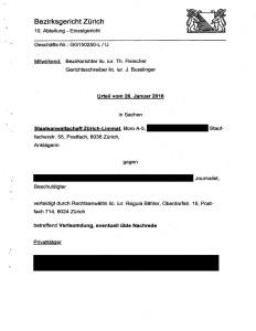 Dokument: Bezirksgericht Zürich, Urteil GG150250-L vom 26. Januar 2016, Rubrum