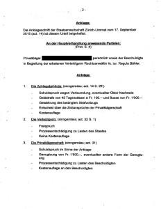 Dokument: Bezirksgericht Zürich, Urteil GG150250-L vom 26. Januar 2016, Rubrum (Anträge)