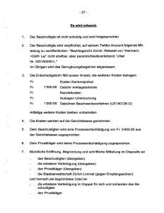 Dokument: Bezirksgericht Zürich, Urteil GG150250-L vom 26. Januar 2016, Dispositiv