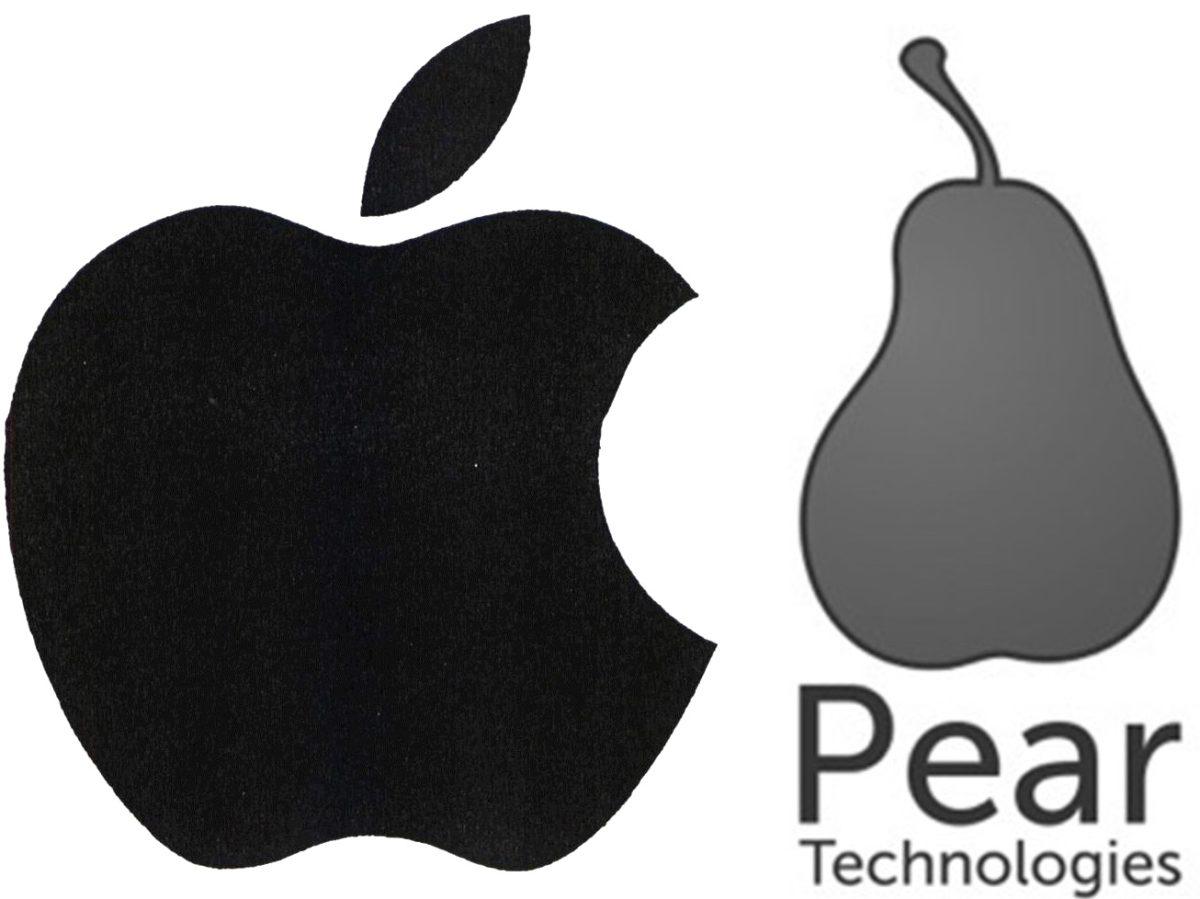Bild: Gegenüberstellung der Apfel- und Birnen-Marken von Apple und Pear Technologies