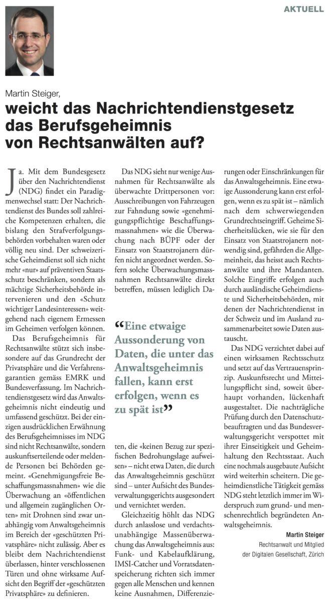 Auszug: Seite mit «Plädoyer»-Beitrag «Weicht das Nachrichtendienstgesetz das Berufsgeheimnis von Rechtsanwälten auf?» von Martin Steiger
