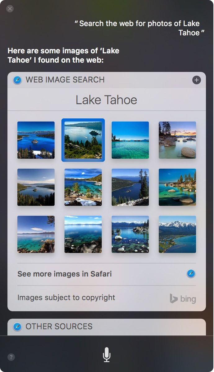 Screenshot: Siri-Bildersuche in MacOS 10.12 «Sierra»