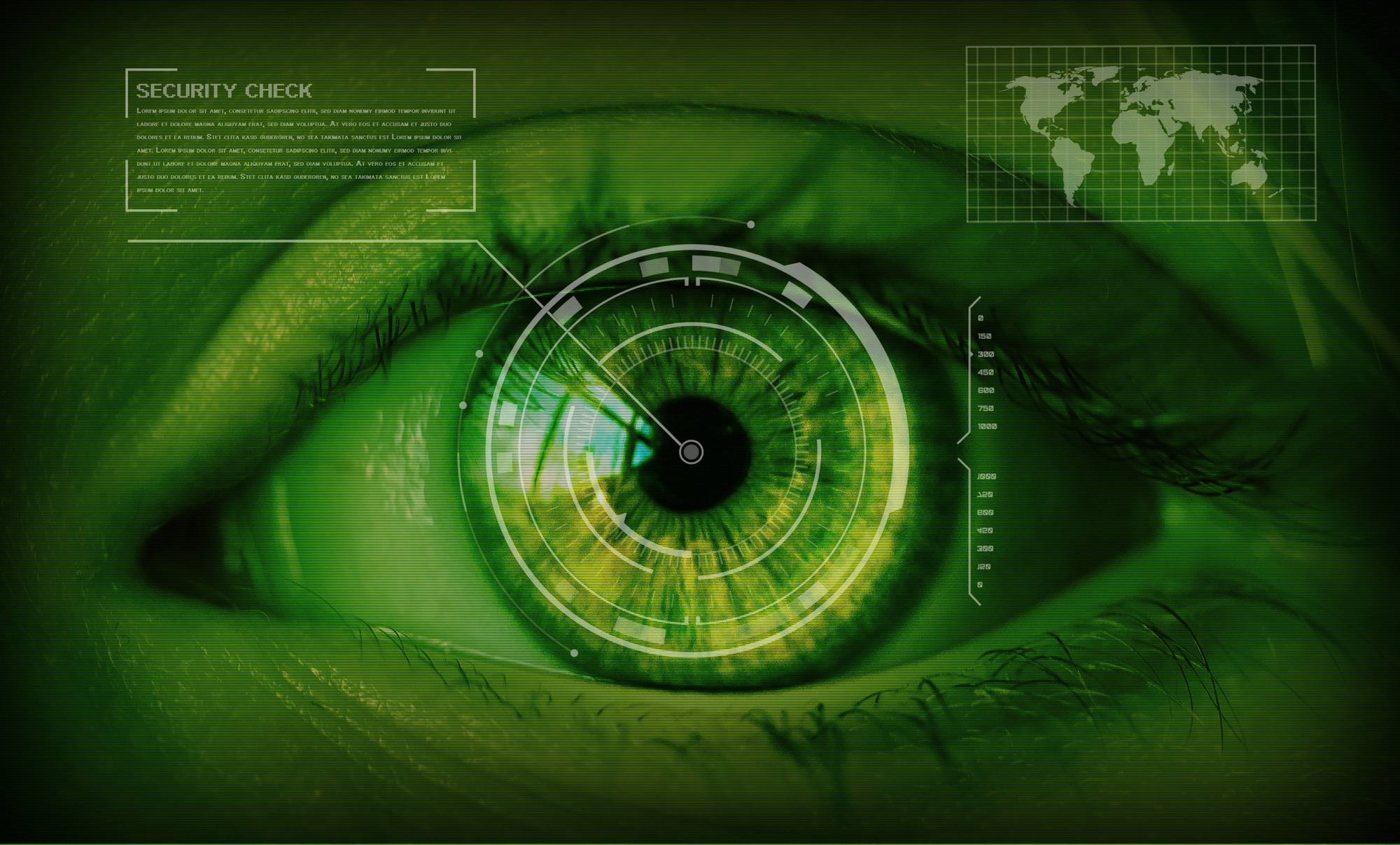 Bild: Grünes, alles überwachendes Auge
