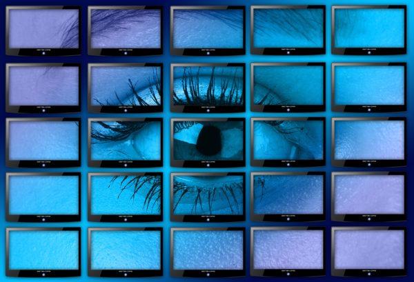 Bild: 25 Bildschirme (5 × 5), die im Gesamtbild ein Auge zeigen