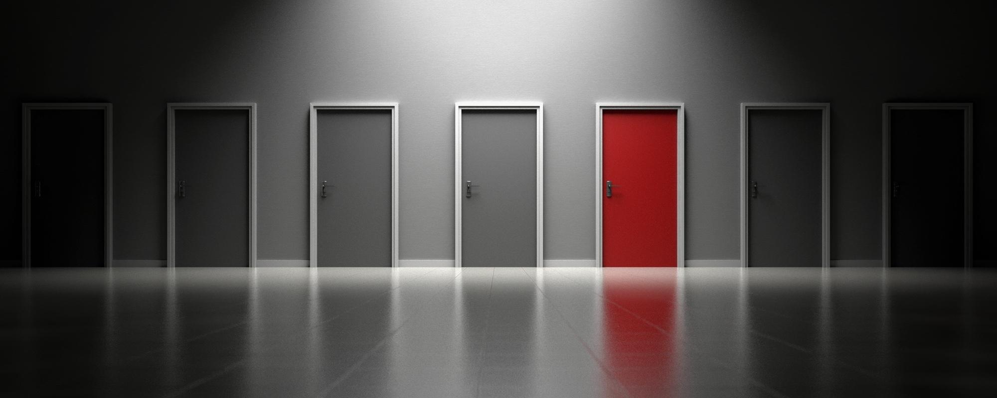 Bild: Mehrere Türen zur Auswahl, eine davon rot bemalt