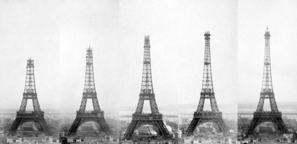 Bild: Eiffelturm in verschiedenen Bauphasen