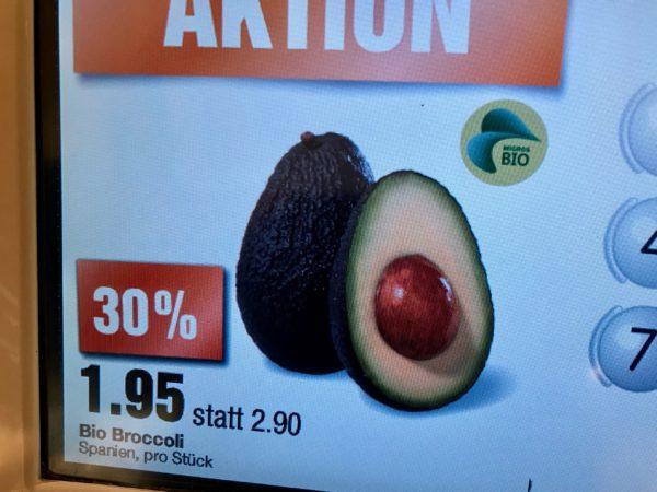 Foto: Avocado, die bei Migros fälschlicherweise als Broccoli bezeichnet wird