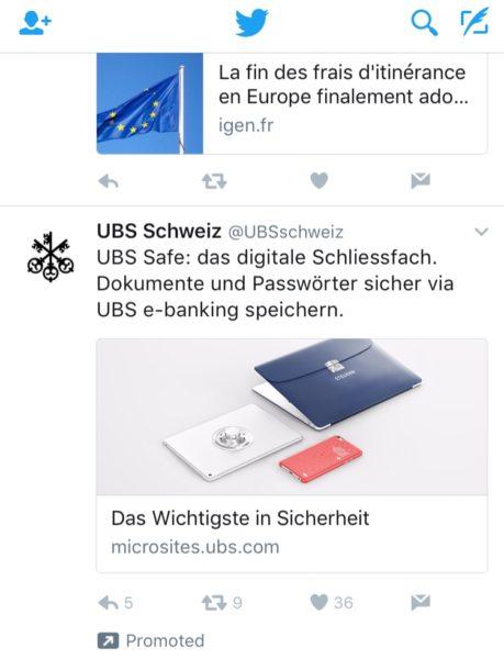 Screenshot: Twitter-Werbung für «UBS Safe»