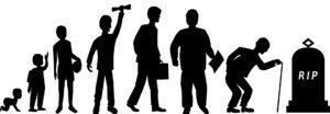 Bild: Lebenslauf, symbolisiert durch menschliche Silhouetten in verschiedenen Lebensabschnitten