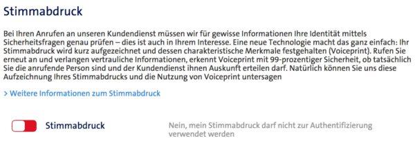 Screenshot: Deaktivierung von Voiceprint im Swisscom-Kundencenter