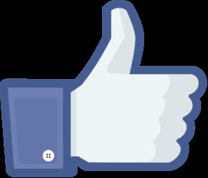 Facebook: Like-Symbol (bläuliche Hand mit Daumen nach oben)