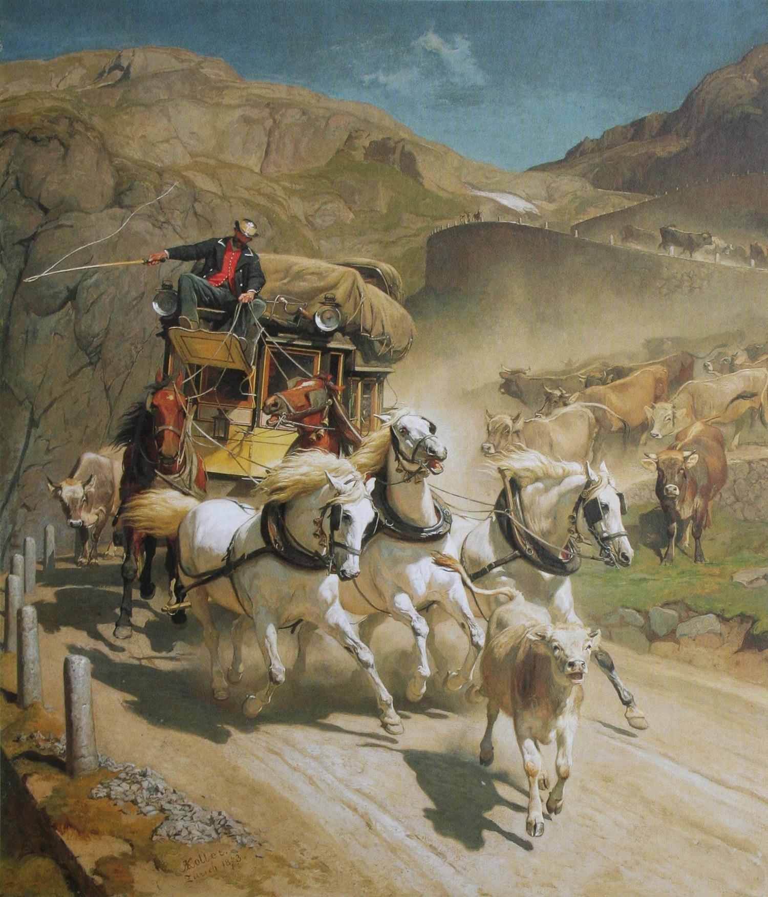 Gemälde: Johann Rudolf Koller, Gotthardpost