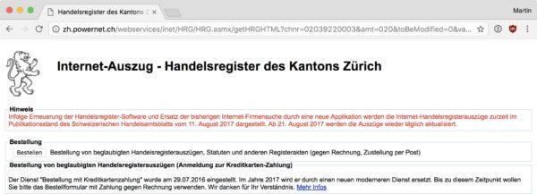 Screenshot: Internet-Handelsregister des Kantons Zürich