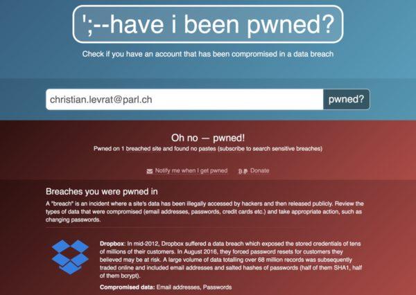 Screenshot: Ergebnis einer Suche nach christian.levrat@parl.ch auf der «Have I been pwned?»-Website