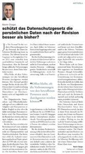 Auszug: Seite mit «Plädoyer»-Beitrag «Schützt das Datenschutzgesetz die persönlichen Daten nach der Revision besser als bisher?» von Martin Steiger