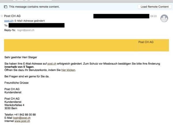 Screenshot: E-Mail der Schweizerischen Post nach Änderung der E-Mail-Adresse