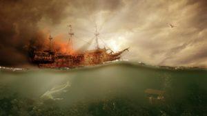 Bild: Brennendes Piratenschiff