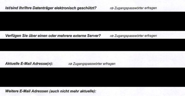 Dokument: Polizei-Fragebogen («Zugangspasswörter erfragen»)