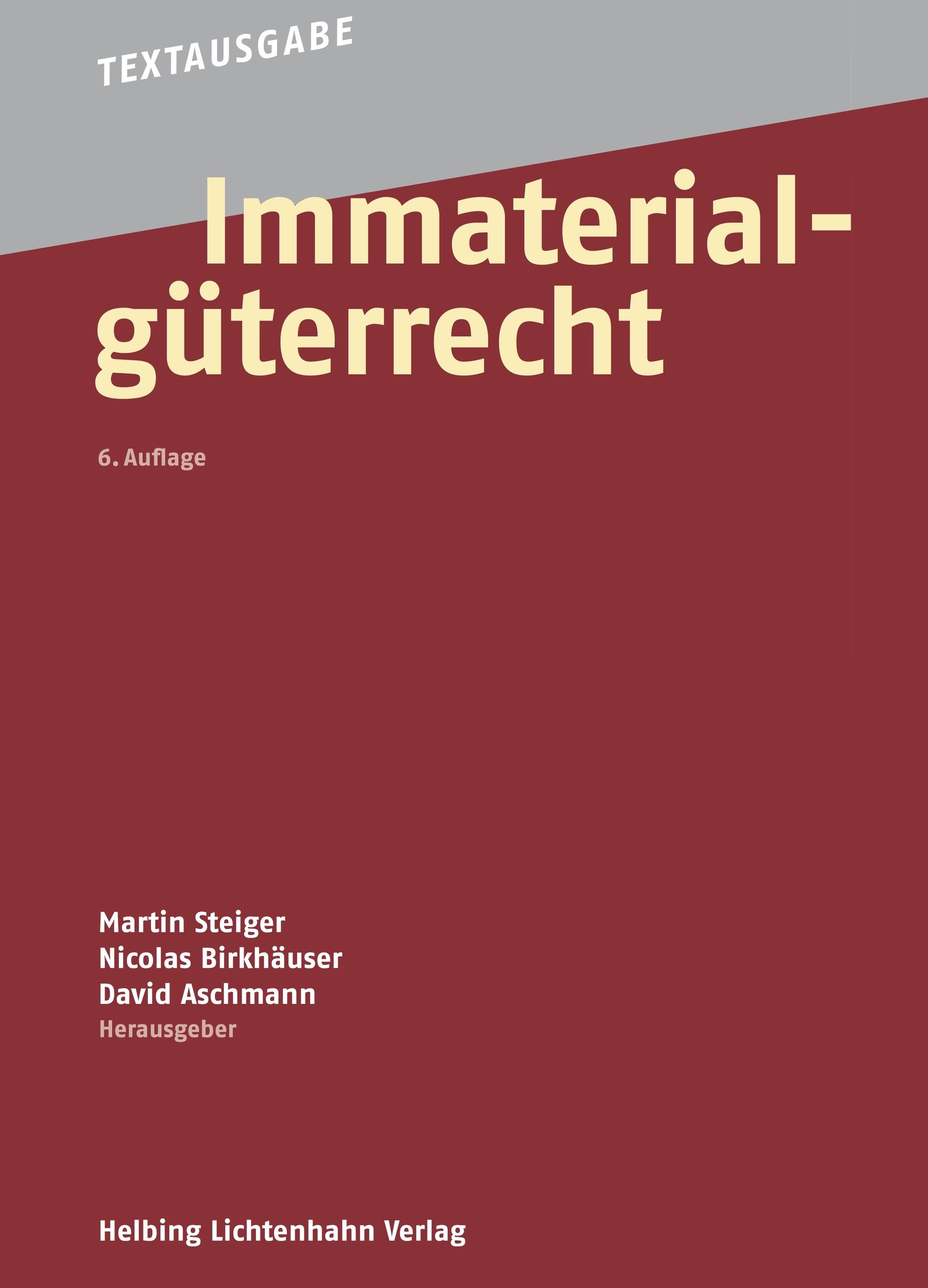 Bild: Frontseite der Textausgabe Immaterialgüterrecht in sechster Auflage