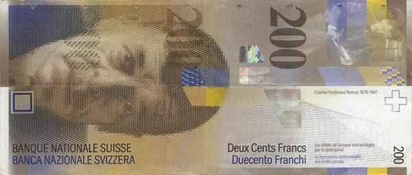 Foto: 200-Franken-Note mit Porträt von Charles-Ferdinand Ramuz