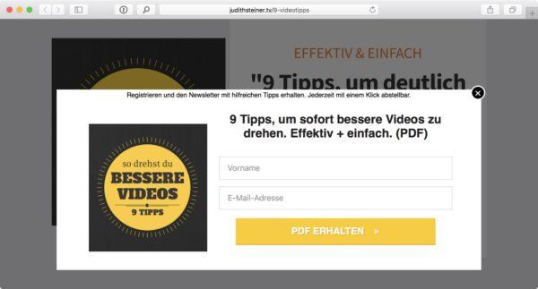 Screenshot: Formular für PDF-Bestellung auf judithsteiner.tv