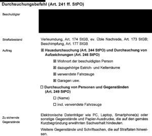 Dokument: Durchsuchungsbefehl (Auszug)