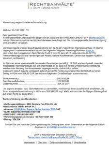 E-Mail: Gefälschte Streaming-Abmahnung