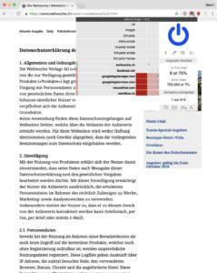 Screenshot: Datenschutzerklärung auf der Website der «Weltwoche»