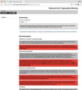 Screenshot: Online-Fragebogen für Datenschutz-Folgenabschätzung auf der Website des Eidgenössischen Datenschutz- und Öffentlichkeitsbeauftragten (EDÖB)