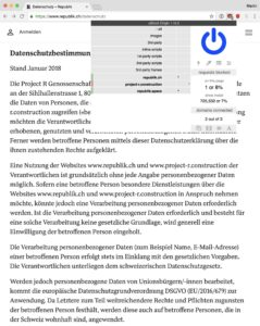 Screenshot: Datenschutzbestimmungen auf der Website der «Republik»