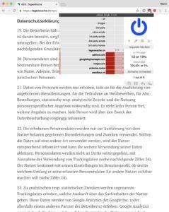 Screenshot: Allgemeine Geschäftsbedingungen (AGB) auf der Website der «Tageswoche»)