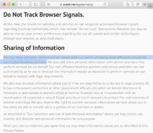 Screenshot: Datenschutzerklärung von Unroll.me (Auszug)