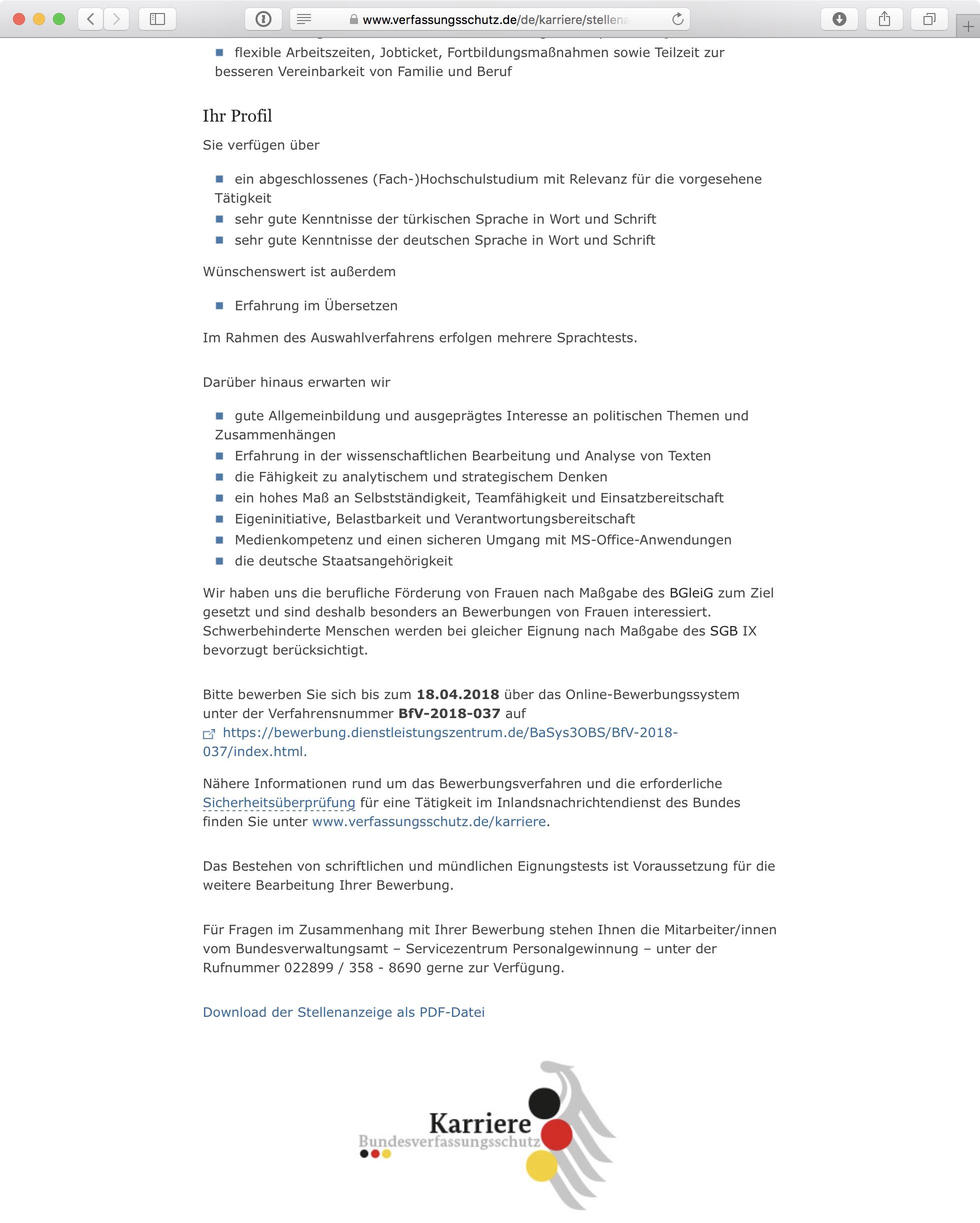 Screenshot: Online-Stellenausschreibung beim Bundesamt für Verfassungsschutz (BfV) in Deutschland