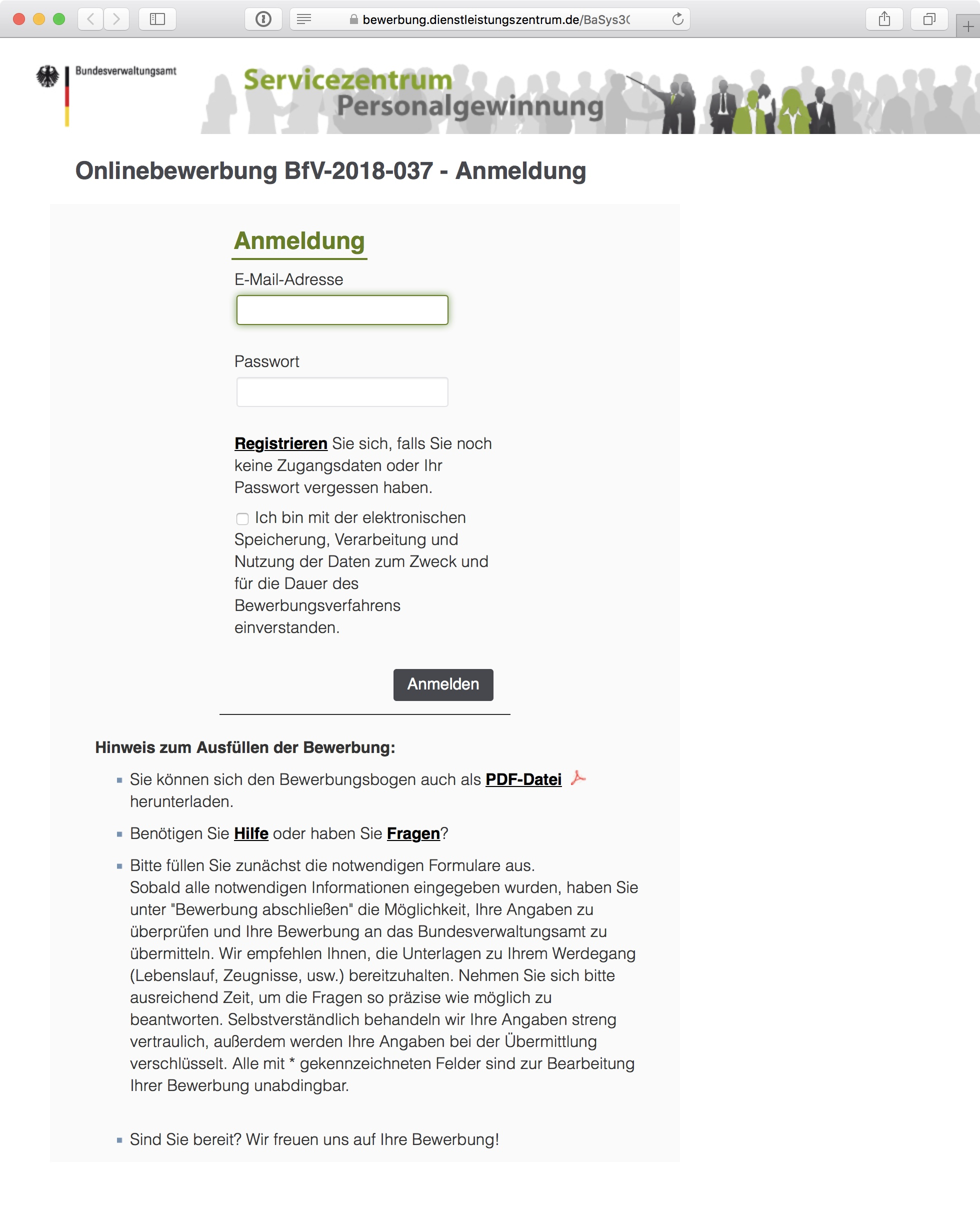 Screenshot: Online-Stellenbewerbung beim Bundesamt für Verfassungsschutz (BfV) in Deutschland